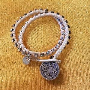 Leather Wrap Rhinestone Bracelet